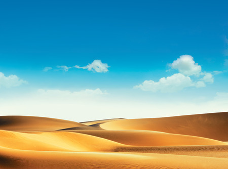 Desert and blue sky with clouds