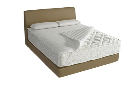 Modern platform bed with mattress and pillow