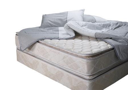 Photo pour Bed mattress with pillow and blanket - image libre de droit