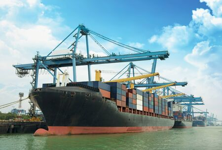 Photo for Cargo ship and container box over shipping dock - Royalty Free Image