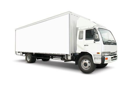 Photo for White heavy truck with cargo container - Royalty Free Image