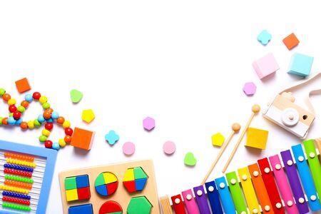 Photo pour Colorful kids toys on white background. Top view, flat lay. - image libre de droit