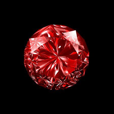3d illustration looks red ruby on black background