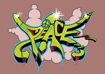 Abstract multi colored graffiti design with text peace.