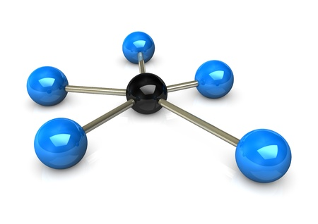 Abstractly rendering of the networks, blue and black balls on the white background.