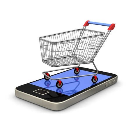 Smartphone with shopping cart on white background