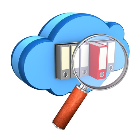 Blue cloud with folders and loupe on the white background