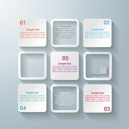 Infographic design with white rectangle squares on the grey background