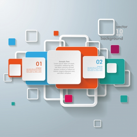 Infographic design with colorful rectangle squares on the grey background. Eps 10 vector file.