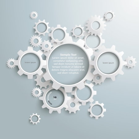 White gears with on the grey background.