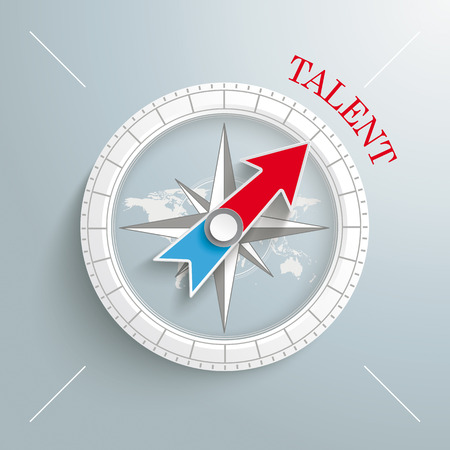 White compass with red text Talent on the grey background.