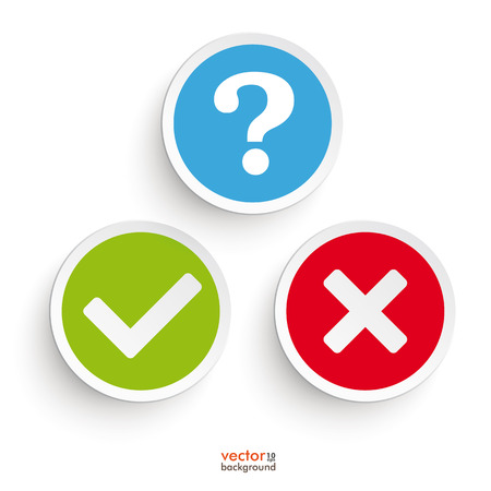 Question, yes and no round icons on the white background. Eps 10 vector file.