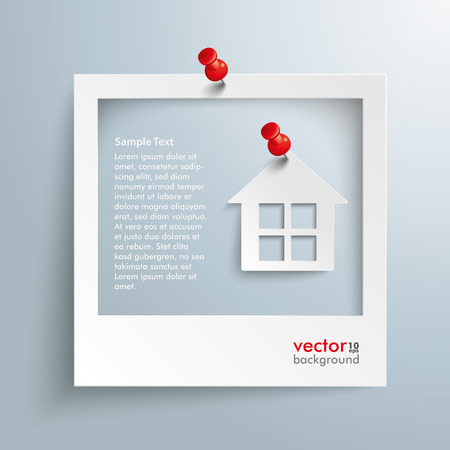 Photo frame with house and red thumbtacks on the gray background. Eps 10 vector file.