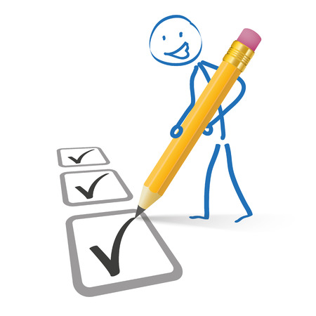 Stickmen with pencil and checklist on the white background. Eps 10 vector file.