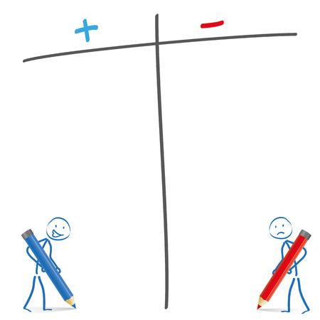 Illustration pour Stickmen with pencils and pro and contra list on the white background. Eps 10 vector file. - image libre de droit