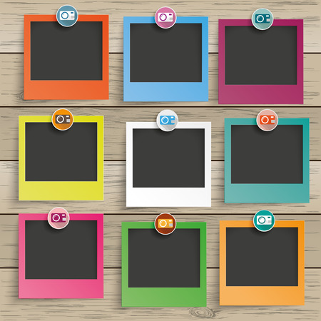 9 photo frames with camera icons on the wooden background. Eps 10 vector file.