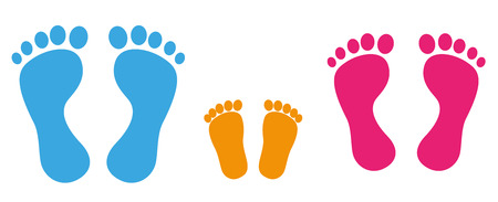 Illustration for 3 colored footprints on the white background. Eps 10 vector file. - Royalty Free Image