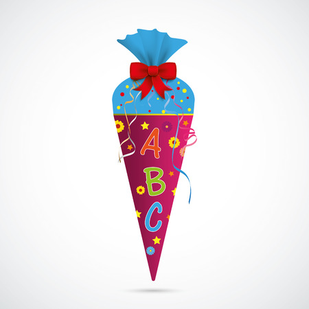 Illustration pour Candy cone with ABC on the gray background. Eps 10 vector file. - image libre de droit