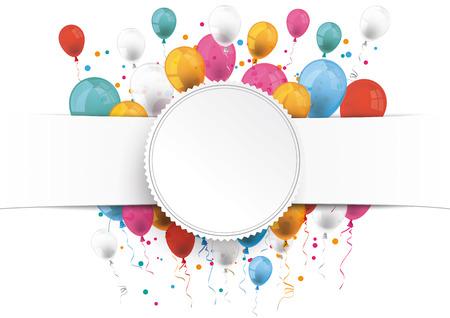 Illustration pour White paper banner, emblem and colored balloons.  Eps 10 vector file. - image libre de droit