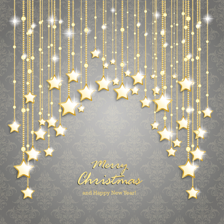 Christmas stars on the gray background with ornaments. Eps 10 vector file.