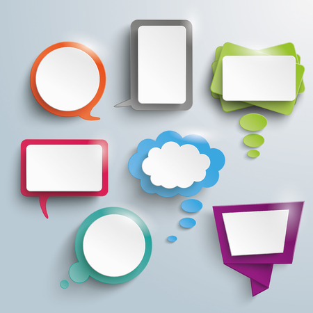 Illustration pour Seven abstract speech and thought bubbles on the gray background. Eps 10 vector file. - image libre de droit