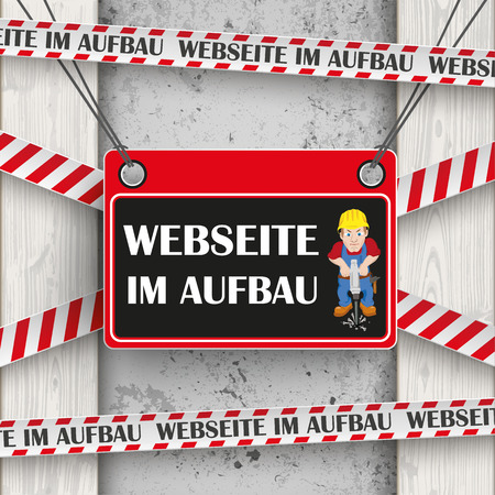 German text Webseite im Aufbau, translate Website Under Construction.Eps 10 vector file.