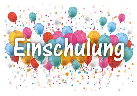 Illustration pour German text Einschulung, translate Enrollment. 10 vector file. - image libre de droit