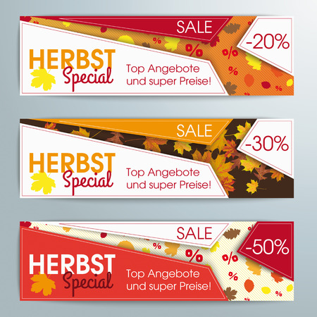 German text Herbstspecial and top Angebot, translate autumn special and best offers. vector file.