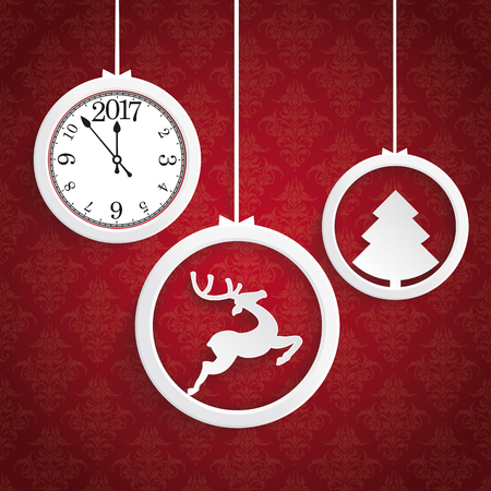 Christmas white rings with clock on the red background. Eps 10 vector file.