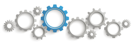 Photo pour Infographic header with gray and blue gears on the white background. Eps 10 vector file. - image libre de droit