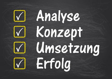 German text Analyse, Konzept, Loesung, Erfolg, translate Analysis, Concept, Solution, Succuss