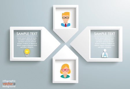 4 paper arrow frames with humans on the gray backround. Eps 10 vector file.