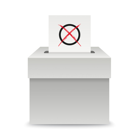 Voting box with voting paper on the white background