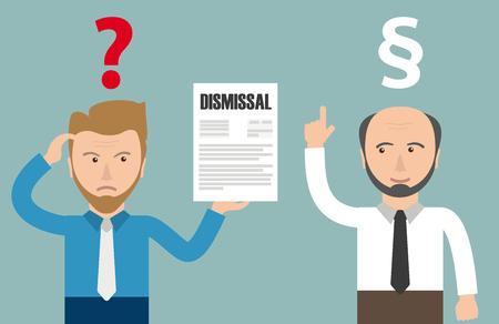 Illustration pour Angry businessman with dismissal letter. Eps 10 vector file. - image libre de droit