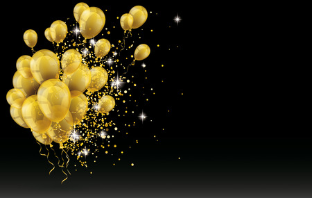 Illustration pour Golden balloons and golden particles on the black background. vector file. - image libre de droit