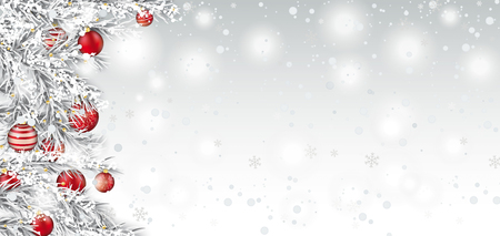 Frozen twigs with red christmas baubles on the white background with snow. Eps 10 vector file.のイラスト素材