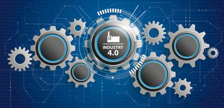 Illustration pour Futuristic gear wheels with the text Industry 4.0. Eps 10 vector file. - image libre de droit