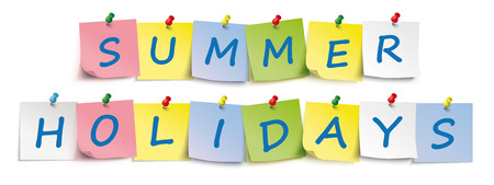 Colored stickers with the text Summer Holidays. Eps 10 vector file.