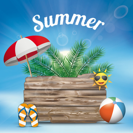 Summer background with sunshade, palms, thongs and wooden board. Eps 10 vector file.