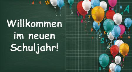 Illustration pour German text Willkommen im neuen Schuljahr, translate Welcome to the new school year. Eps 10 vector file. - image libre de droit