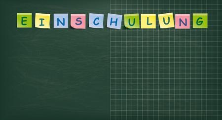 Illustration pour German text Einschulung, translate Enrollment. Eps 10 vector file. - image libre de droit