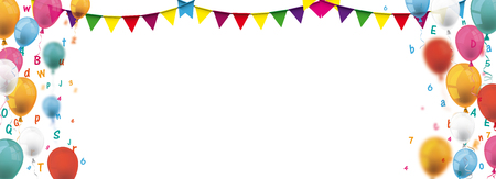 Illustration pour Colorful balloons with buntings and letters. vector file. - image libre de droit