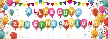 Illustration pour German text Alles Gute Zur Einschulung, translate Happy Enrollment. vector file. - image libre de droit