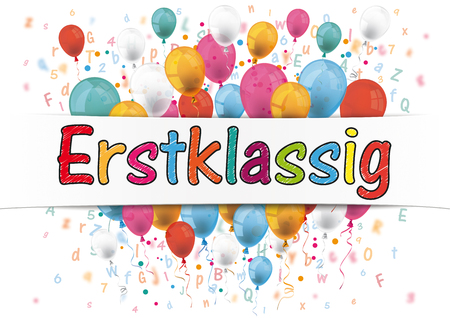 Illustration pour German text Erstklassig, translate First Grade. Eps 10 vector file. - image libre de droit