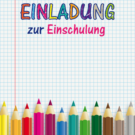 Illustration pour German text Einladung zur Einschlung, translate Invitation to School Enrollment. Eps 10 vector file. - image libre de droit