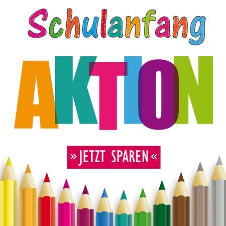 Illustration pour German text Schulanfang Aktion, Jetzt Sparen, translate Back To School Sale, Buy Now. Eps 10 vector file. - image libre de droit