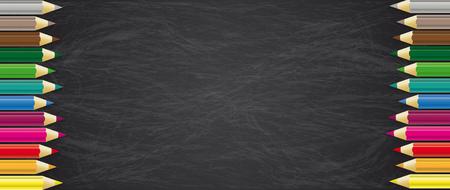 Illustration pour Blackboard with colored pencils. Eps 10 vector file. - image libre de droit