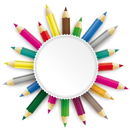 Illustration pour Colored pencils with emblem on the white background. Eps 10 vector file. - image libre de droit