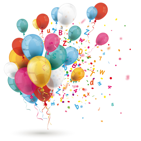 Illustration pour Colored balloons with letters and confetti on the white background. Eps 10 vector file. - image libre de droit