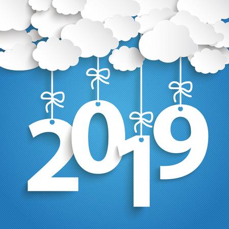 Ilustración de Paper clouds with text 2018 on the blue background. Eps 10 vector file. - Imagen libre de derechos